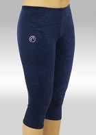 Collant gymnastique 3/4 velours lisse bleu K754ma