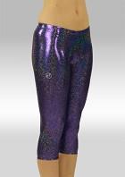 Collant 3/4 long en Wetlook brillant Violet W754475